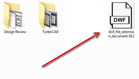 Файл формата DWF в папке системы Windows 10