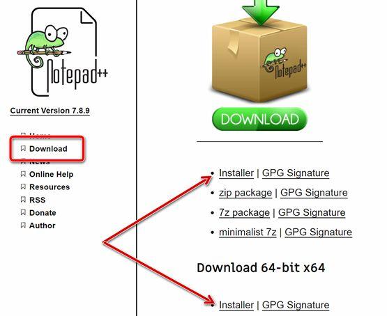 Страница загрузки бесплатного приложения Notepad++