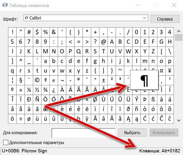 Комбинация клавиш для добавления специального символа в текст