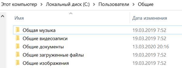 Общие папки системы Windows 10