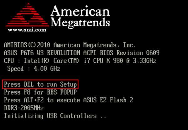 Экран POST с сообщением о способе входа в BIOS
