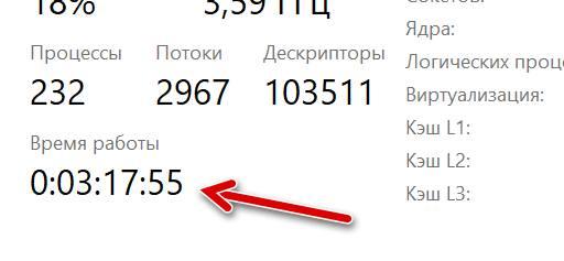 Информация о времени работы компьютера в диспетчере задач Windows 10