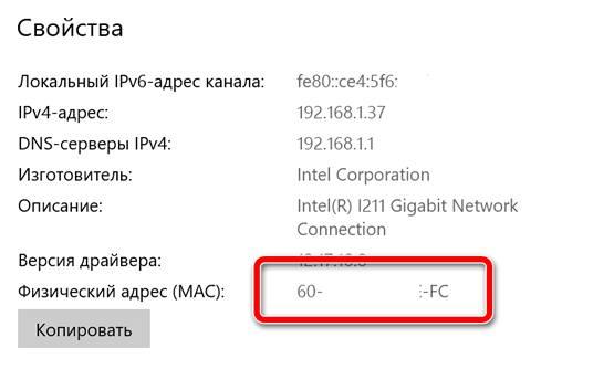 MAC-адрес устройства в свойствах сетевого соединения
