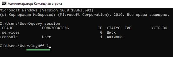 Отключение пользователя Windows по его номеру