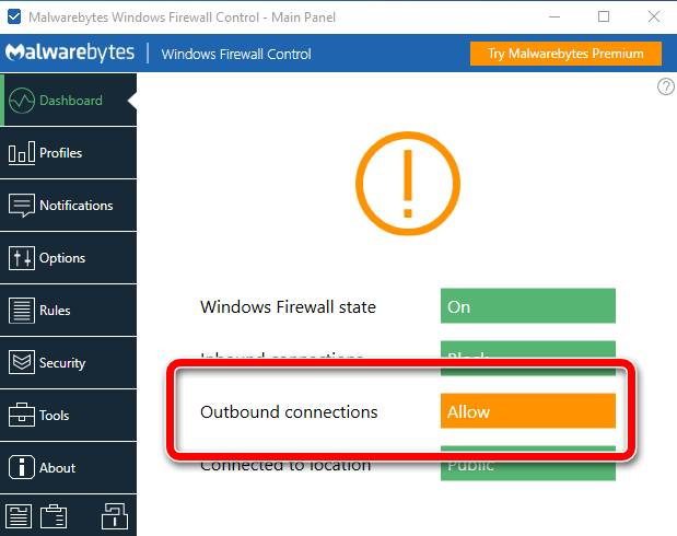 Первый запуск Windows Firewall Control
