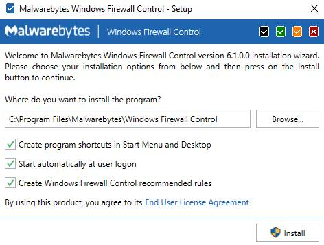 Окно установки Windows Firewall Control