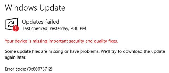 Сообщение об отсутствии важных обновлений системы Windows 10