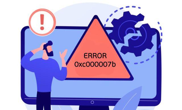 Иллюстрация ошибки 0xc000007b на экране компьютера