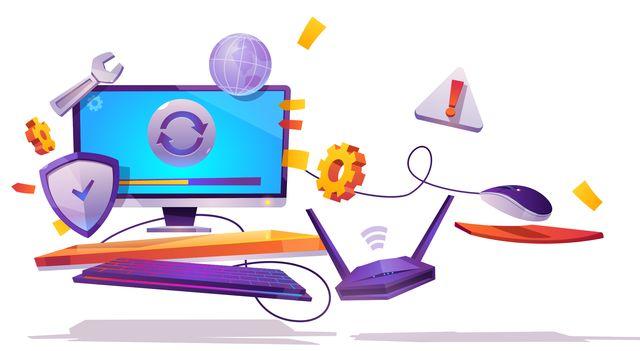 Иллюстрация на тему взаимодействия драйверов и устройств компьютера с Windows 10