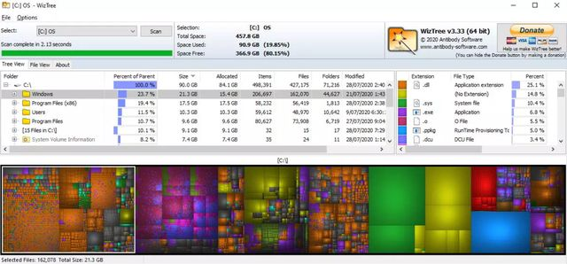 WizTree показывает, какие файлы занимают больше всего места