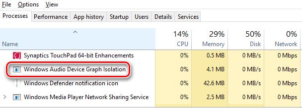 Процесс Windows Audio Device Graph Isolation в диспетчере задач