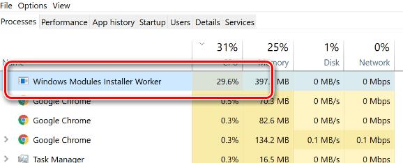 Процесс Windows Modules Installer Worker в диспетчере задач