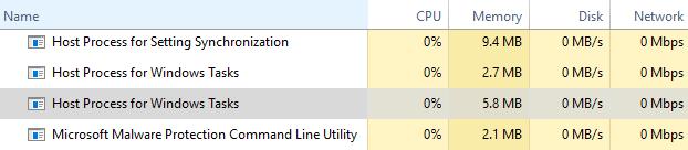 Host Process for Windows Tasks в диспетчере задач