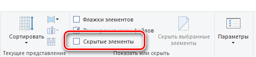 Показать скрытые элементы в проводнике Windows