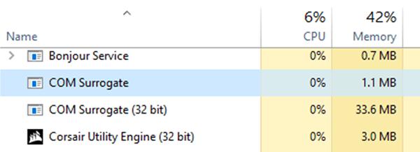 Отображение процесса COM Surrogate в диспетчере задач Windows