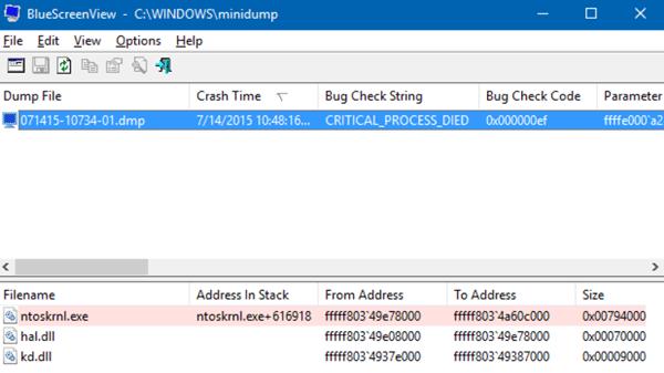 Просмотр информации о критической ошибке Windows с помощью BlueScreenView