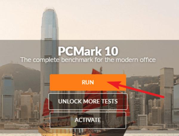 Запуск тестирования компьютера в PCMark 10