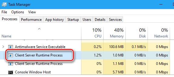 Процесс Client Server Runtime Process в диспетчере задач системы Windows 10
