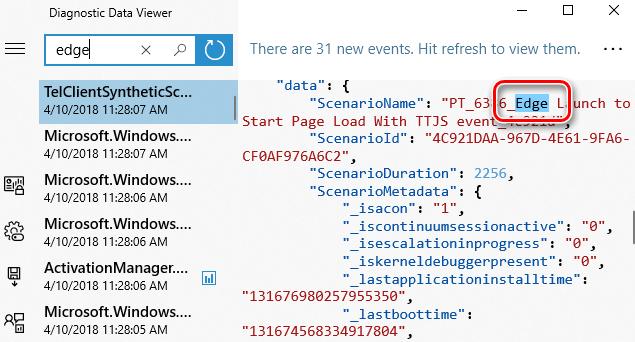 Пример информации, которую получит Microsoft об использовании браузера Edge