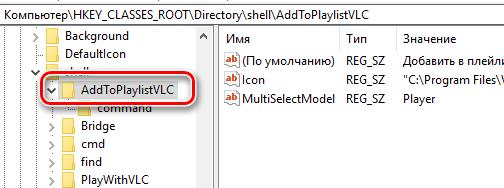 Ключ реестра добавленный плеером VLC