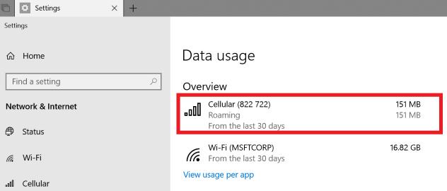 Обновленная панель настройки мобильного широкополосного доступа в Windows 10 Redstone 5