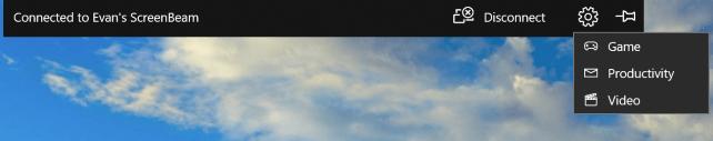 Панель управления проецированием экрана в Windows 10