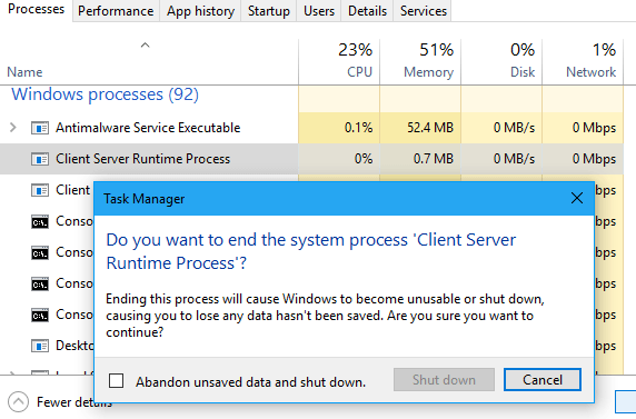 Windows запрещает завершать Client Server Runtime Process