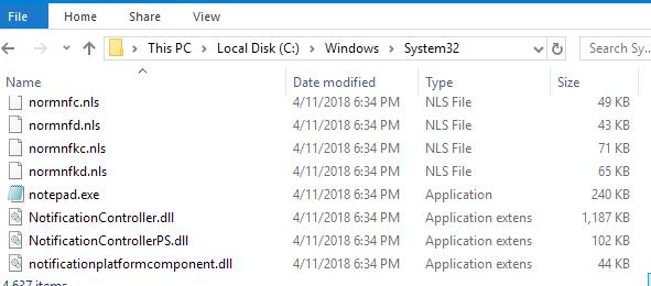 Пример набора системных файлов в папке Windows 10