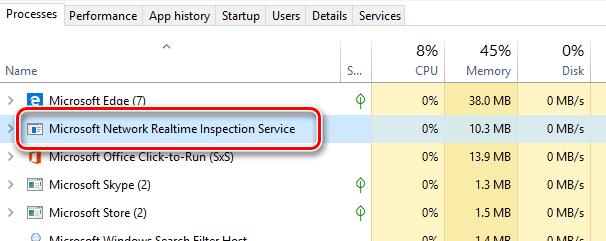 Процесс «Microsoft Network Realtime Inspection Service» в диспетчере задач Windows