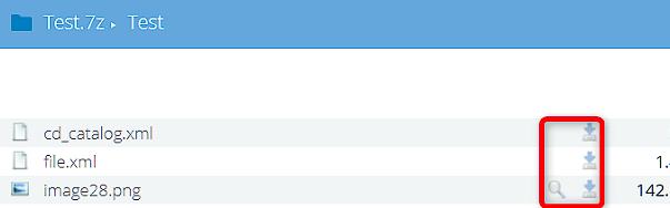 Результат извлечения файлов из архива 7Z в онлайн архиваторе