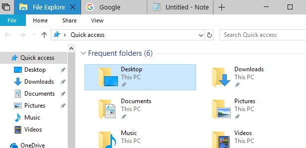 Вкладки режима Sets в системе Windows 10