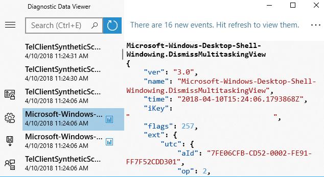 Просмотр данных отправляемых в Microsoft при событии