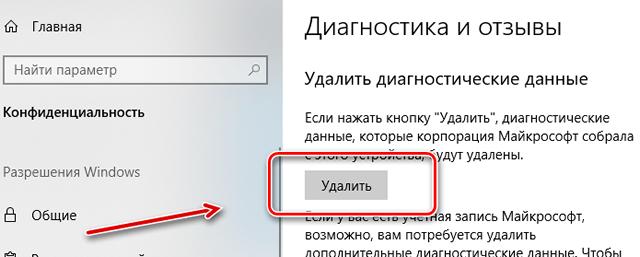 Запрос на удаление всех диагностических данных собранных Windows 10