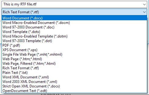 Выбор формата для сохранения текстового файла