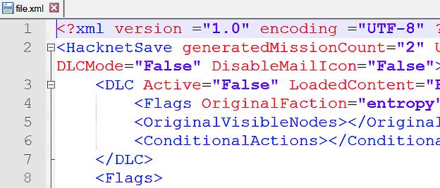 Файл XML открыт в приложении Notepad