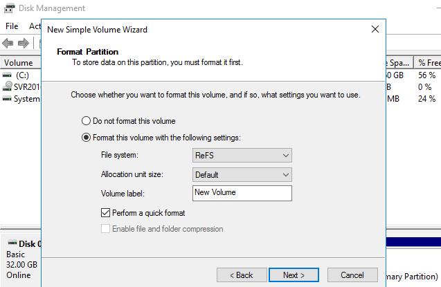 Форматирование дискового хранилища в формат файловой системы ReFS