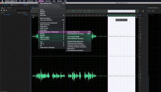 Получение образца шума в Adobe Audition