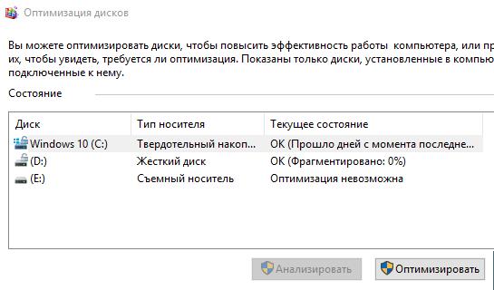 Стандартный инструмент оптимизации дисков в системе Windows 10