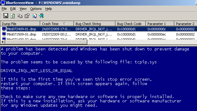 Просмотр содержания дамп файлов BSOD экрана
