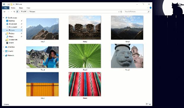 Темное оформление в обновленном проводнике файлов Windows 10