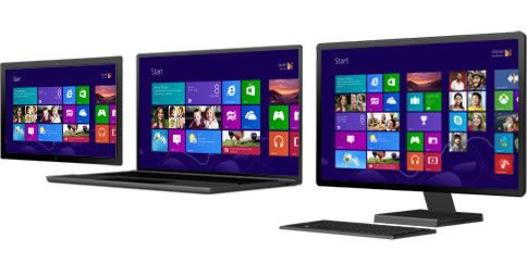 Комбинации Windows 8 на различных компьютерных устройствах