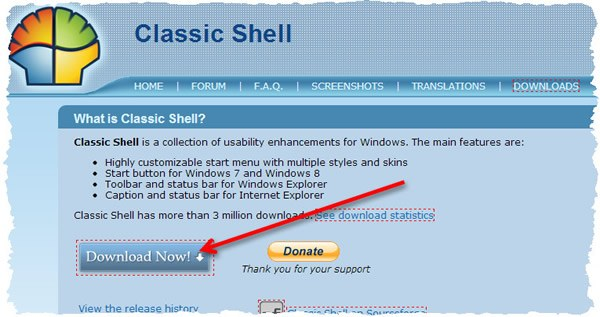 Страница загрузки программы Classic Shell для windows