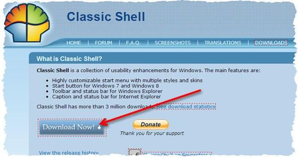Страница загрузки программы Classic Shell для Windows