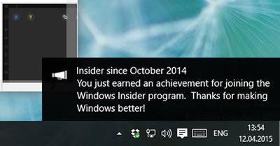 Уведомление о получении достижения в Windows 10