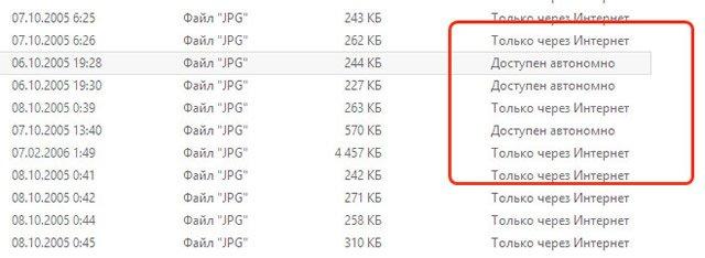 Работа функции Smart Files сервиса OneDrive