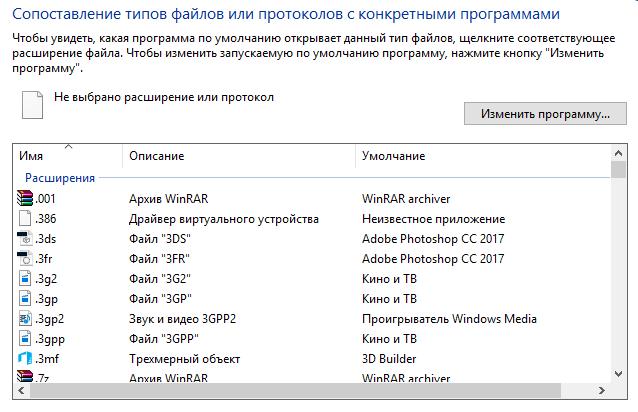 Окно сопоставления типов файлов или протоколов с программами Windows