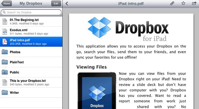 Интерфейс бесплатного приложения сервиса DropBox