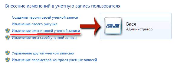 Окно изменения имени учетной записи пользователя системы Windows