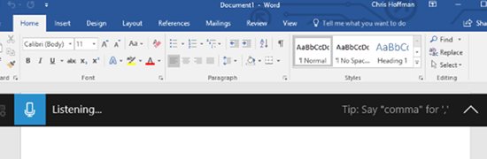 Запуск ввода текста голосом в системе Windows