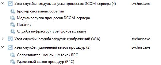 один хост-процесс svchost.exe обслуживает несколько служб системы Windows